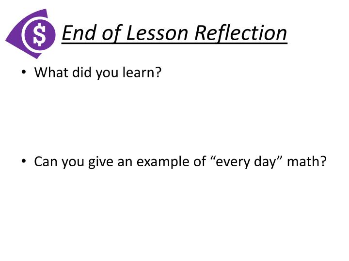 End of Lesson Reflection