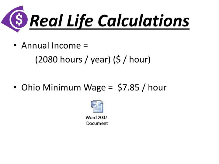Real Life Calculations