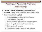 analysis of approved programs methodology