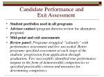 candidate performance and exit assessment