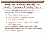 iowa state university s process self identified concerns with existing program