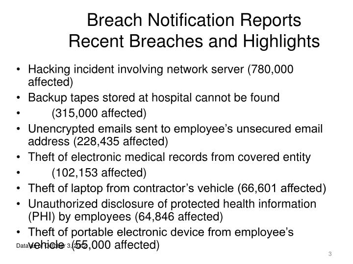 Breach notification reports recent breaches and highlights