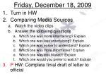 friday december 18 2009