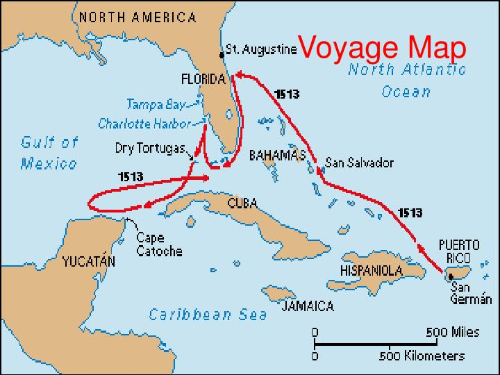 Map Of Ponce De Leon S Travels