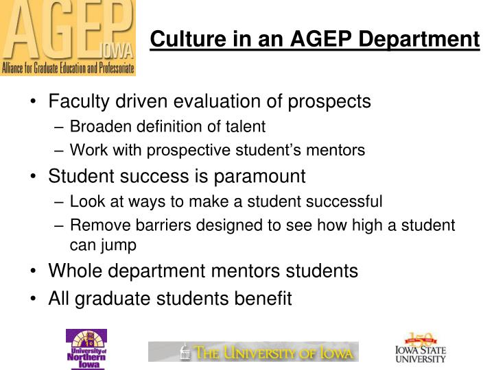 Culture in an AGEP Department