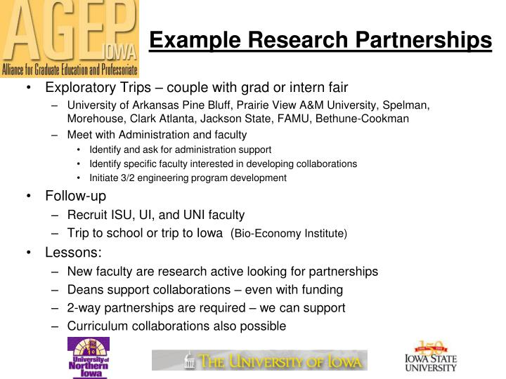 Example Research Partnerships