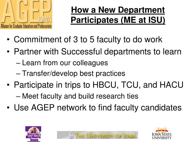 How a New Department Participates (ME at ISU)