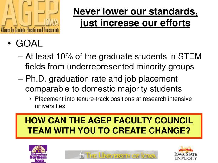 Never lower our standards, just increase our efforts