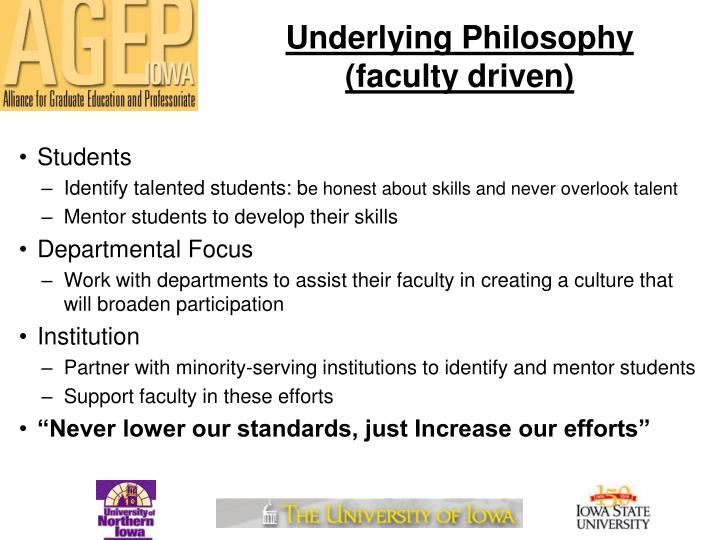 Underlying Philosophy (faculty driven)
