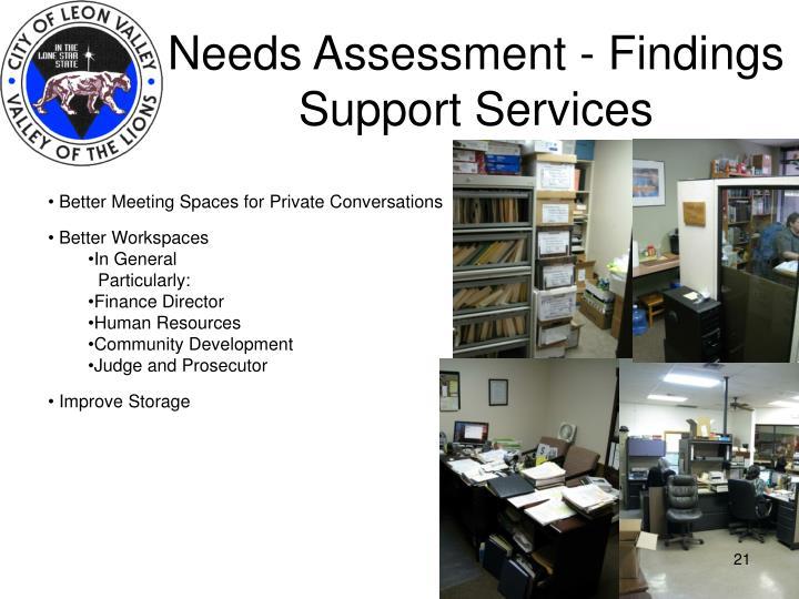 Needs Assessment - Findings