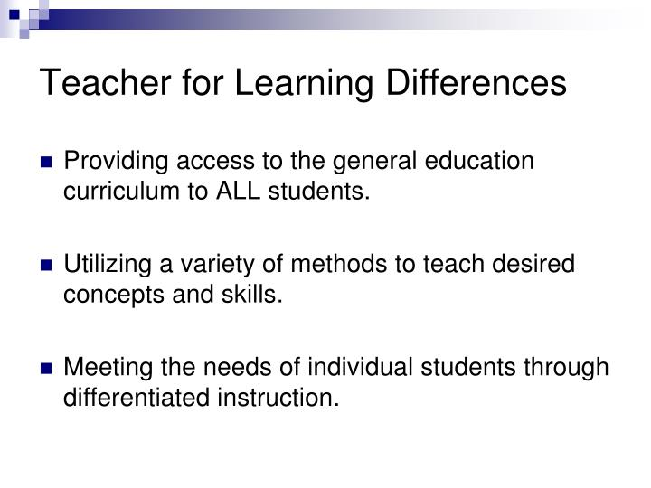 Teacher for Learning Differences