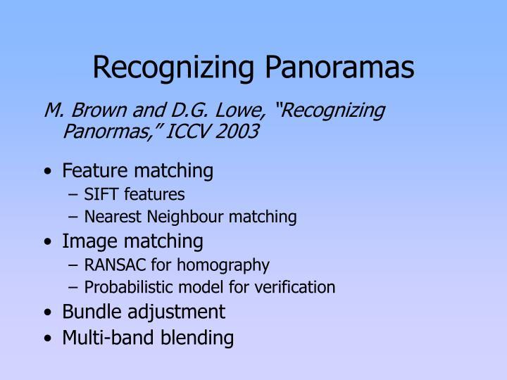 Recognizing Panoramas