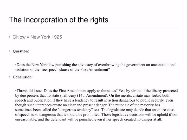 The incorporation of the rights1