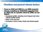 timelines and general climate factors