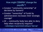 how might cbnrm change the payoffs
