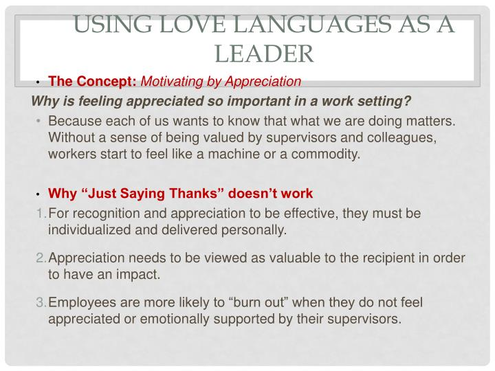 Using Love Languages as a leader