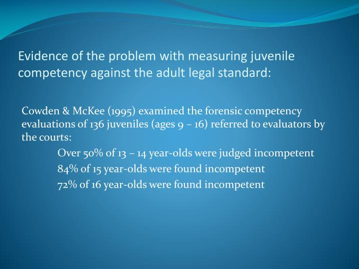 Evidence of the problem with measuring juvenile competency against the adult legal standard: