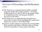overview of proceedings and deliberations cont