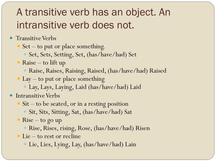 A transitive verb has an object an intransitive verb does not