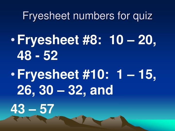 Fryesheet numbers for quiz