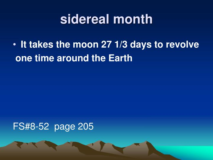 sidereal month