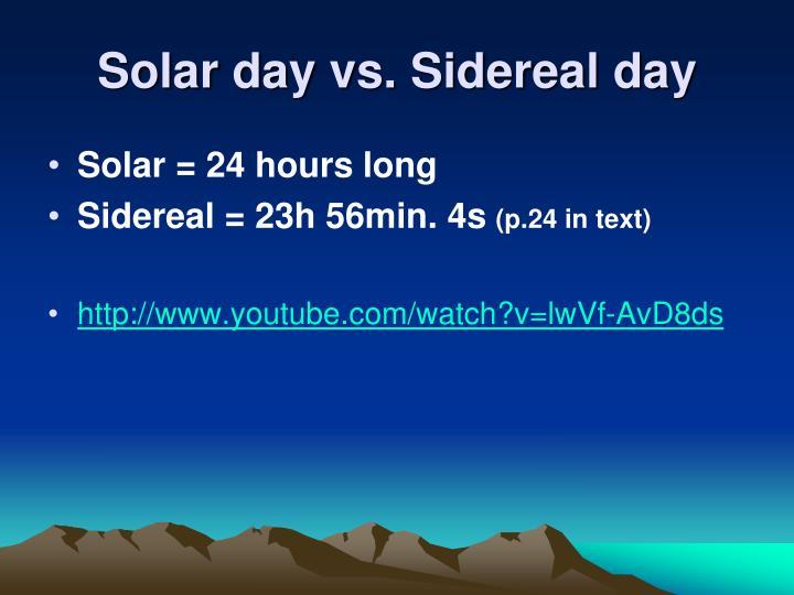 Solar day vs.