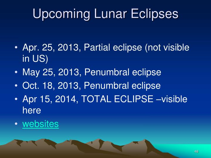 Upcoming Lunar Eclipses