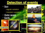 detection of events