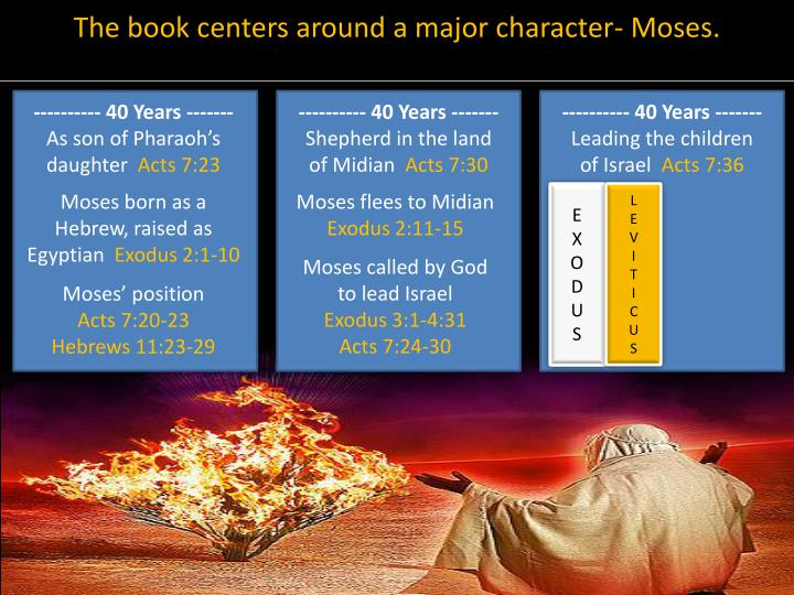 The book centers around a major character- Moses.