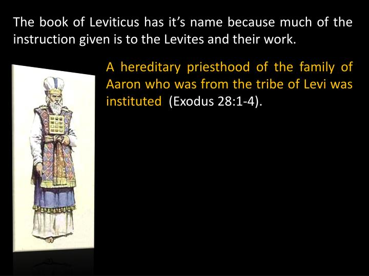 The book of Leviticus has it's name because much of the instruction given is to the Levites and their work.