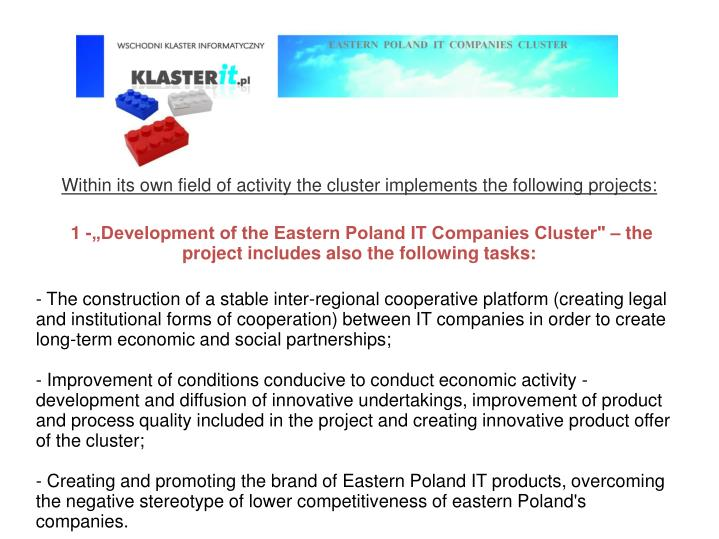 Within its own field of activity the cluster implements the following projects:
