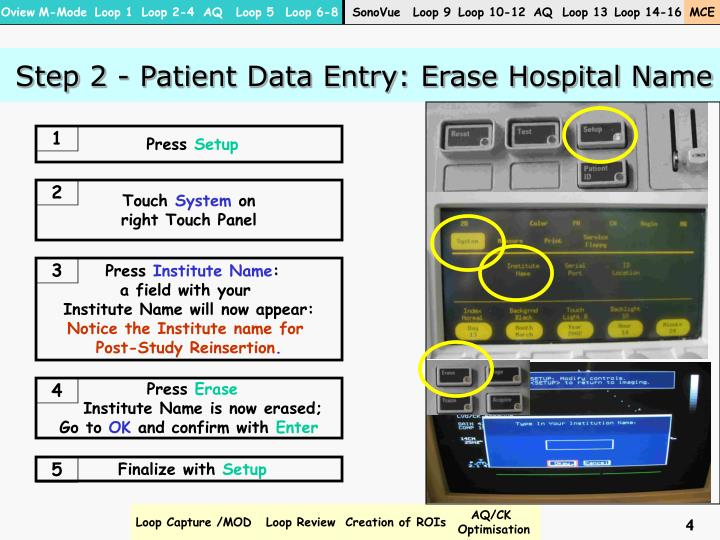 Step 2 - Patient Data Entry: Erase Hospital Name