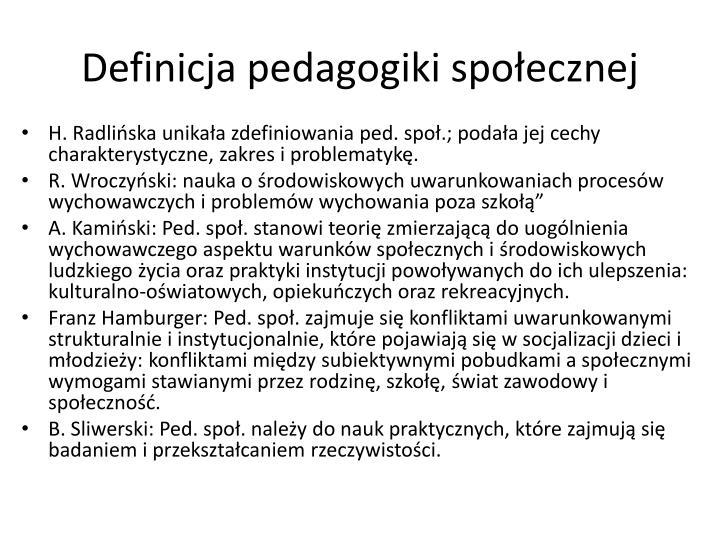 Definicja pedagogiki spo ecznej