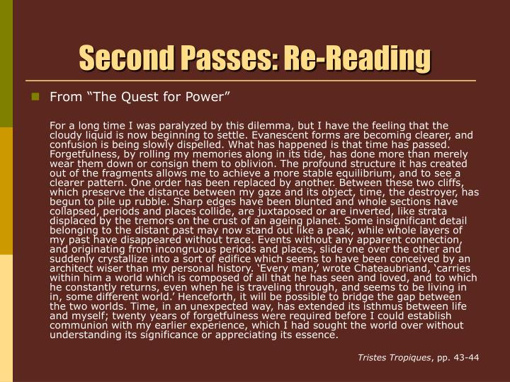 Second Passes: Re-Reading