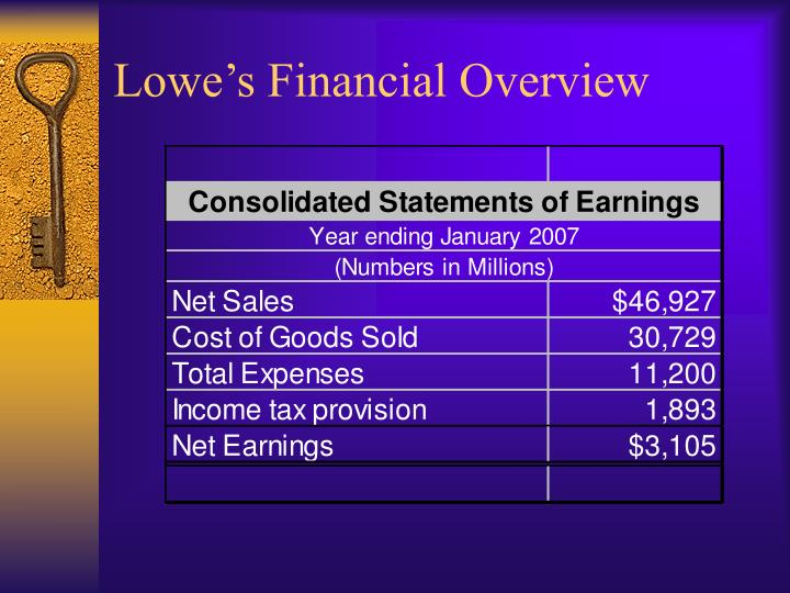 Lowe s financial overview