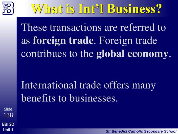 What is Int'l Business?