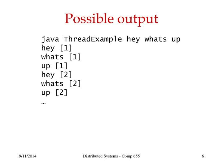 Possible output