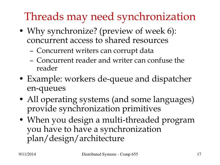 Threads may need synchronization