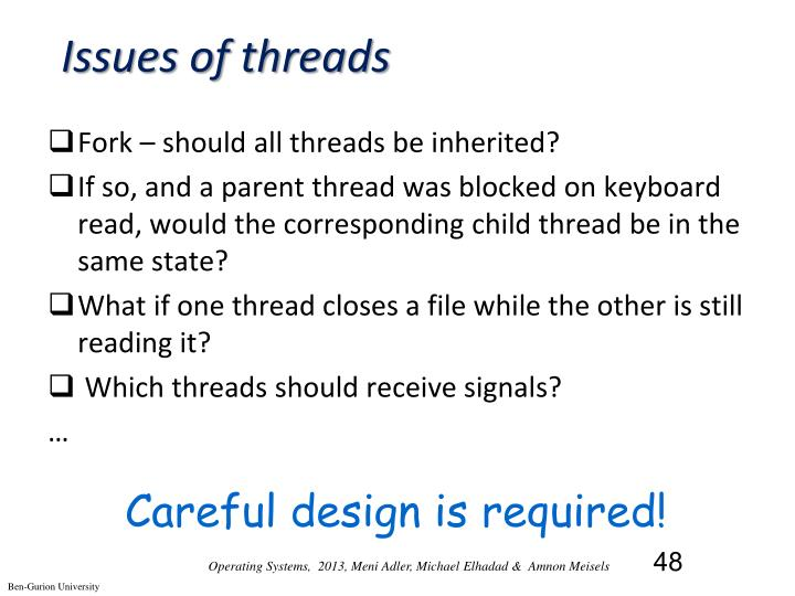 Issues of threads