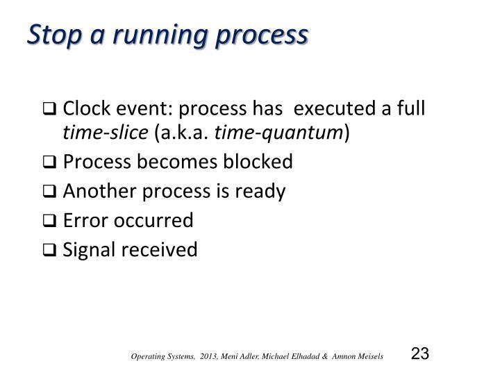 Stop a running process
