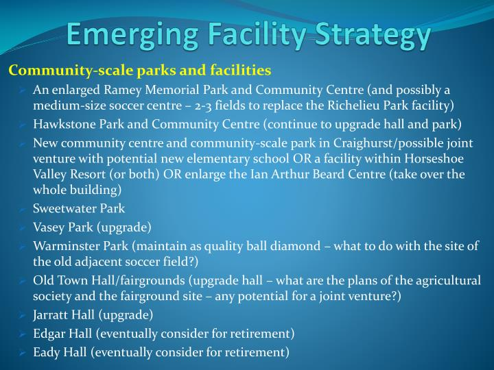 Emerging Facility Strategy