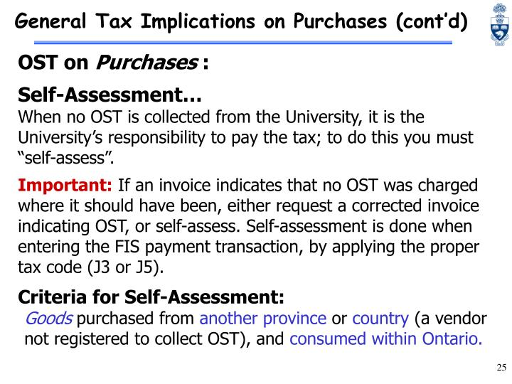 General Tax Implications on Purchases (cont'd)
