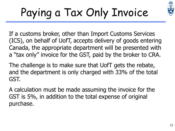 Paying a Tax Only Invoice