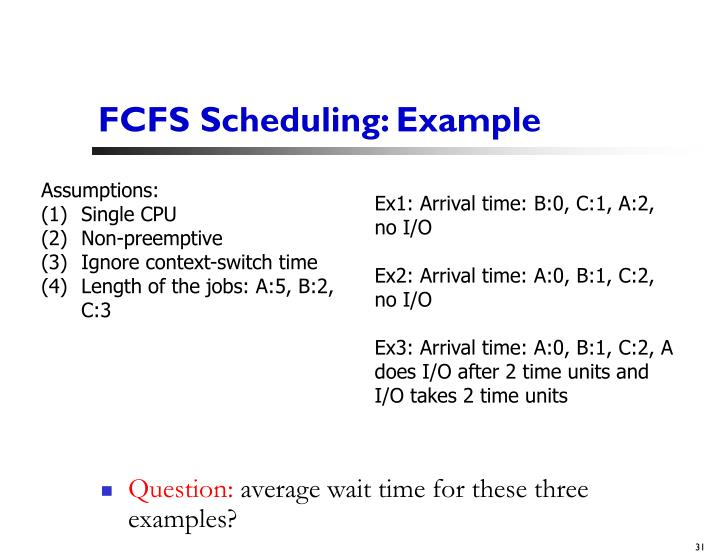 FCFS Scheduling: Example
