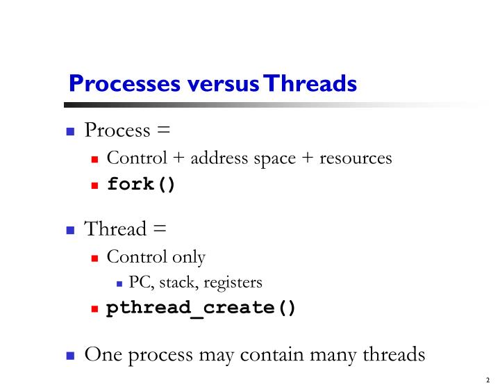 Processes versus threads