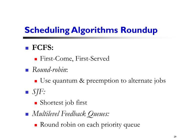 Scheduling Algorithms Roundup