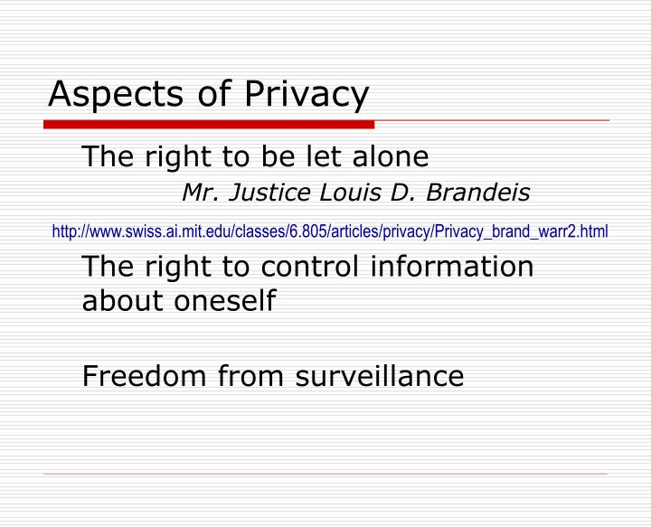 Aspects of Privacy