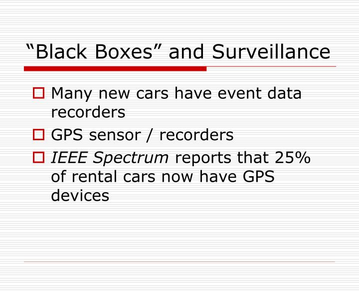 """Black Boxes"" and Surveillance"