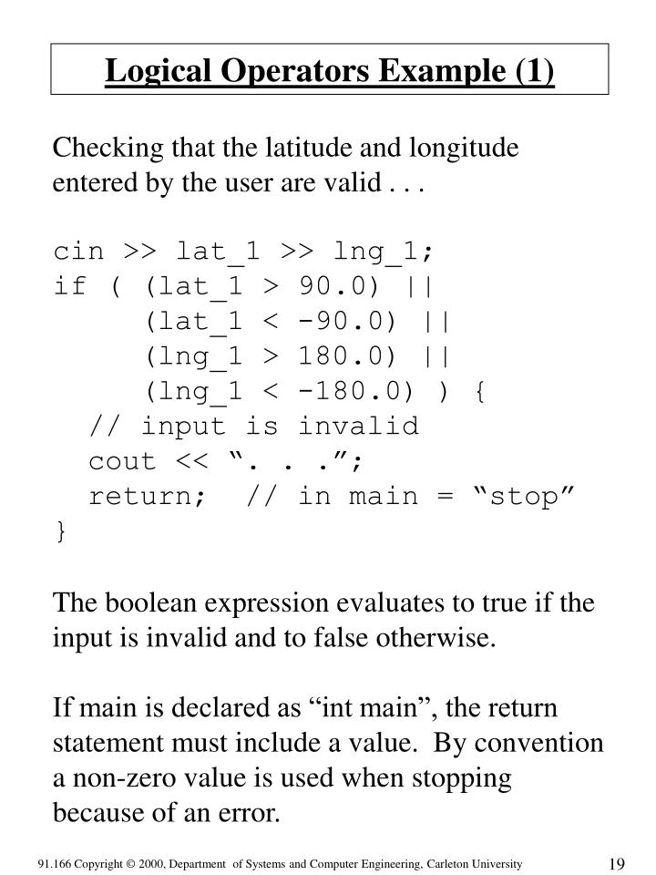 Logical Operators Example (1)
