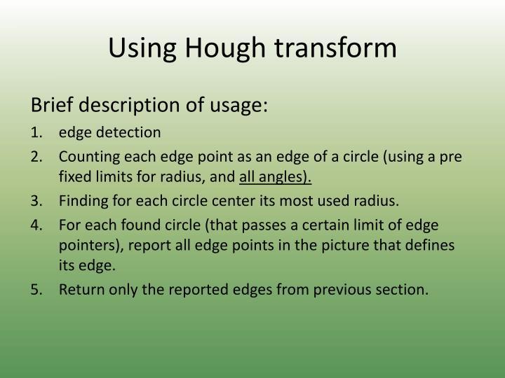 Using Hough transform